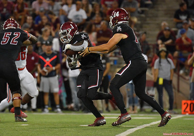 LAS CRUCES, NEW MEXICO - OCTOBER 05, 2019:  Quarterback Josh Adkins #14 hands off to running back Jason Huntley #1 of the New Mexico State Aggies during their game against the Liberty Flames at Aggie Memorial Stadium on October 05, 2019 in Las Cruces, New Mexico.The Flames defeated the Aggies 20-13.  (Photo by Sam Wasson)