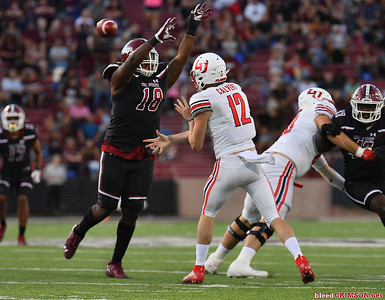 LAS CRUCES, NEW MEXICO - OCTOBER 05, 2019:  Quarterback Stephen Calvert #12 of the Liberty Flames passes against defensive lineman Marcus Buckley #18 of the New Mexico State Aggies during their game at Aggie Memorial Stadium on October 05, 2019 in Las Cruces, New Mexico.The Flames defeated the Aggies 20-13.  (Photo by Sam Wasson)