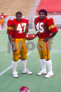 Running Backs Tony Greene and Dwayne Crutchfield pose at Iowa State Cyclones football media day in 1981. Photo © Wesley Winterink.