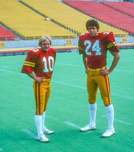 Alex Giffords and Jim Knuth pose at Iowa State Cyclones football media day in 1981. Photo © Wesley Winterink.
