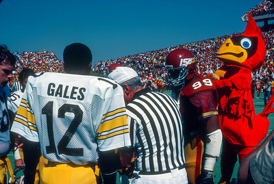 Coin toss for the 1981 Iowa State - Iowa football game at Cyclone Stadium in Ames, Iowa. Photo © Wesley Winterink.