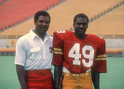 Coach Clarence Hudson and Robert Coffer pose at Iowa State Cyclones football media day in 1981. Photo © Wesley Winterink.