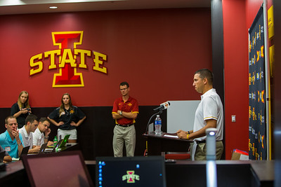 Iowa State Head Football Coach Matt Campbell speaks to the press during media day on August 9, 2016.  Photo by Wesley Winterink.
