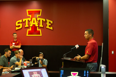 Scene from media day for Iowa State football at Jack Trice Stadium in Ames, Iowa on August 7, 2018. Photo by Wesley Winterink.