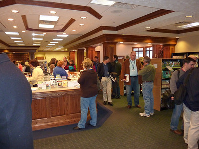 Guests browsing the Resource Center before the opening session