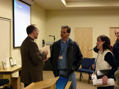 "Dan Wickert, M.D. talks to Track 3 guests after the ""Working with a Physician"" session"