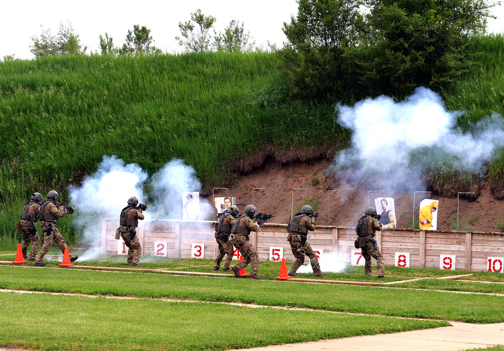 . The FBI Detroit SWAT team in action -- during a demonstration at the range. PHOTO COURTESY OF FBI Detroit.