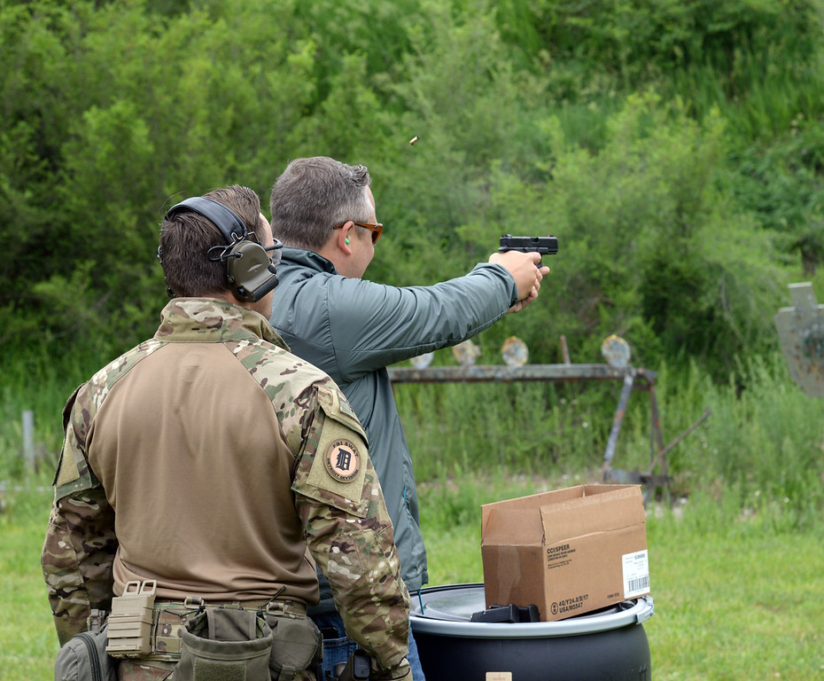 . Erik Edoff, Superintendent of L\'Anse Creuse Public Schools was among the people selected to attend this year\'s FBI Detroit Citizens Academy. Edoff is seen here during a day at the range. Edoff and 35 members of his 2018 class completed their seven-week course in June.
