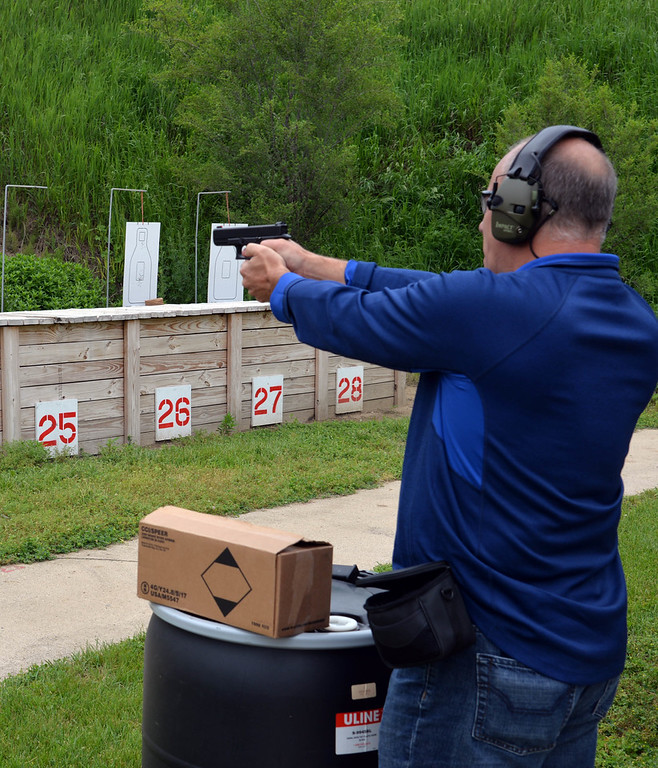 . Shown here during a day at the range is Jeff Siciliano of Macomb Township. The owner of AIM Solutions in Fraser was among the people selected to attend the FBI Detroit Citizens Academy in June.
