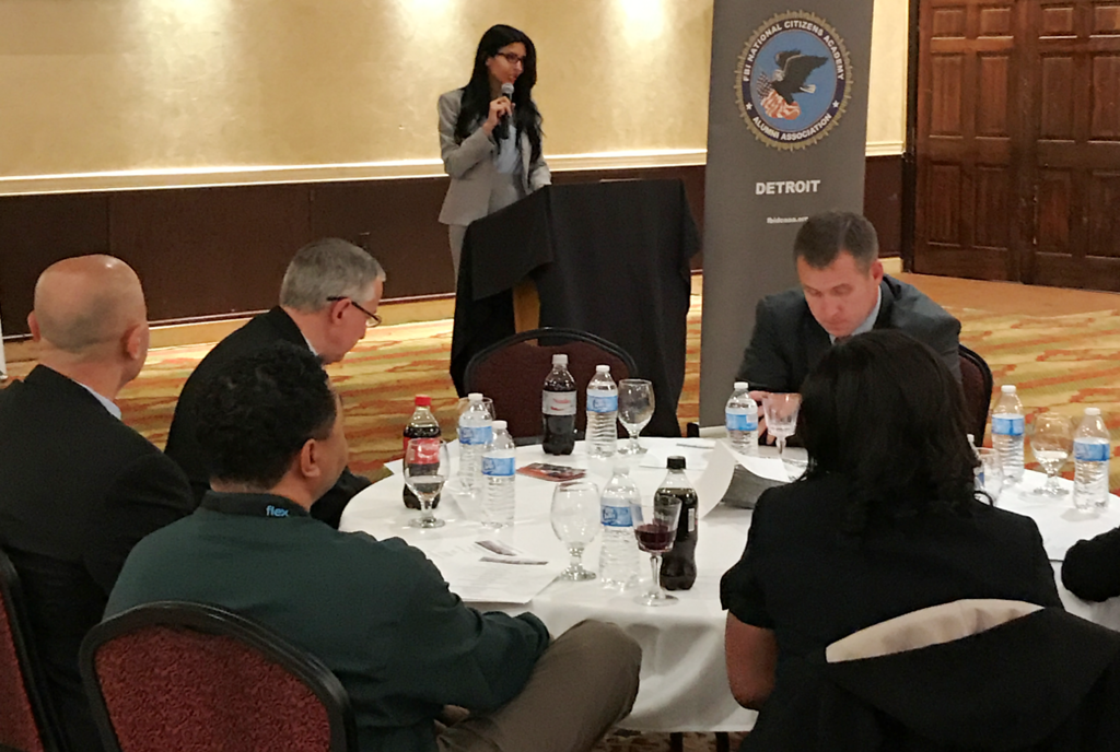. Nadia Fadel-Bazzi, president of FBI Detroit Citizens Academy Alumni Association addresses the crowd during an event supported by members of the alumni association.