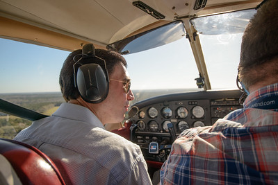 """Troy Kinsey and co-pilot  at controls during a flight """"around the patch"""" in his 1974 Piper Cherokee Warrior"""