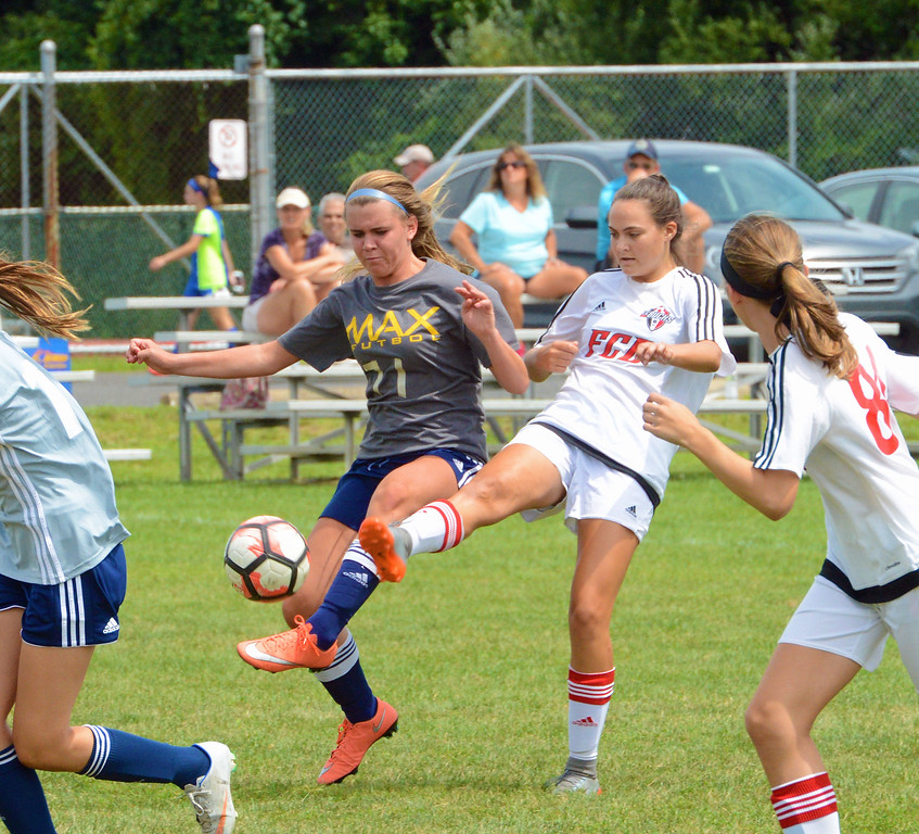 . Camryn Hughes battles to control free ball in girls soccer tournament hosted by CRUSA/FC Bucks Aug. 5-6 at Northampton Civic & Recreation Center in Richboro, Pa.  (John Gleeson - 21st-Century Media)