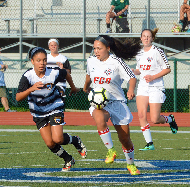 . Avery Sison controls ball at midfield.