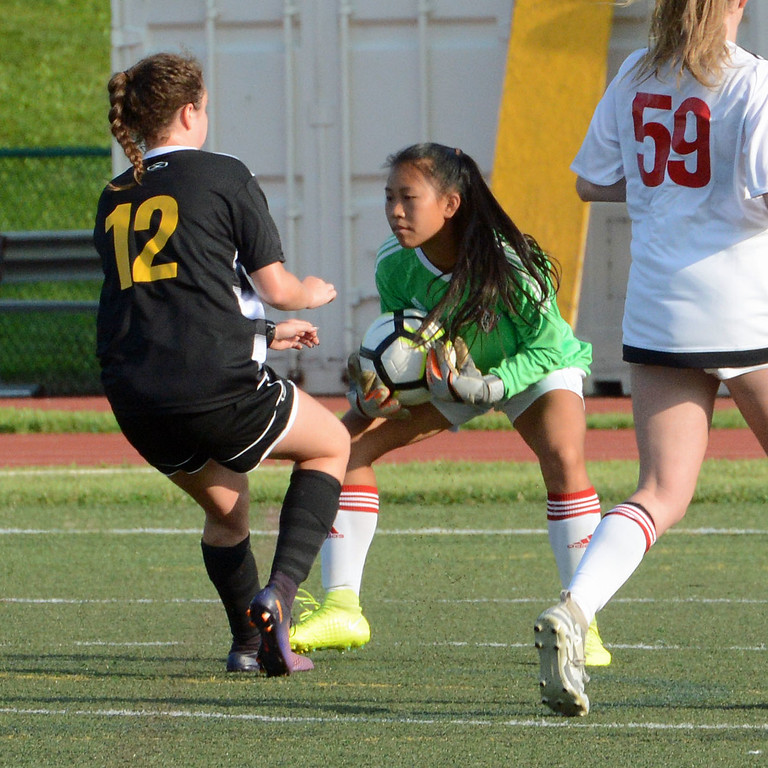 . Rachel Dudeck stands tall in goal for Rampage team.