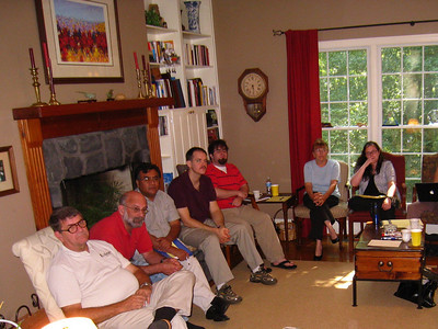 08 08-14 FCH staff at Fullers home - L-R: Glen Barton, Jeff Abbott, Huleo ?, Nathan Porter, Chris Donnelly, Celia Loudermilk, Erica Moody. Present but not shown: Gloria Bryant, Linda & Millard Fuller, Ryan Iafigliola, Cathy Smith, David Snell, Ralph Whittenburg. lcf
