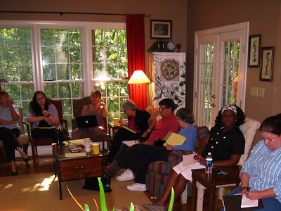 08 08-14 FCH staff at Fullers home - L-R: Cecelia Loudermilk, Erica Moody, Rebecca Thompson, Margaret & Jim LaFavre, Sarah Whittenburg, Sharon Tarver, Holly Chapman. lcf