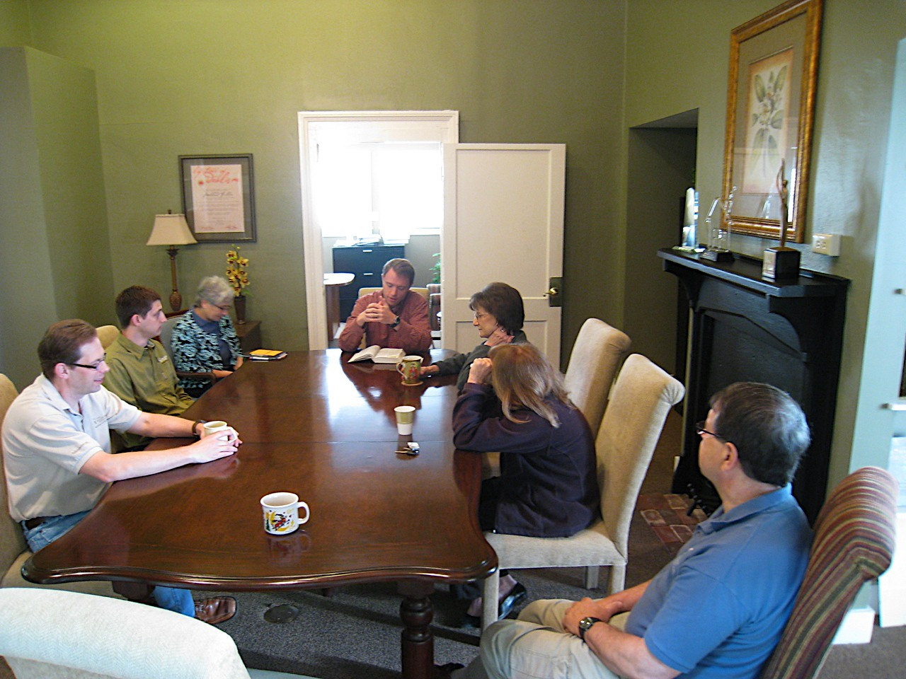 09 04-16 Presbyterian Pastor Allan Purtill leads devotions for 4th anniversary of FCH. Faith Fuller