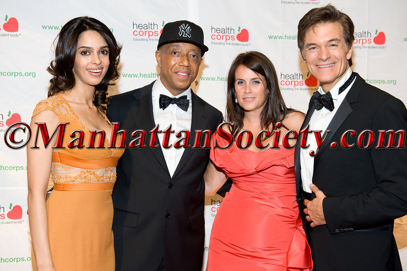 """Mallika Sherawat, Russell Simmons, Lisa Oz, Dr. Mehmet Oz attend HEALTHCORPS' Fifth Annual Gala """"Fresh From The Garden"""" on Wednesday, April 13, 2011 at Intrepid Sea, Air & Space Museum, Pier 86 at 46th Street & 12th Avenue, New York, NY  PHOTO CREDIT: Copyright ©Manhattan Society.com 2011"""