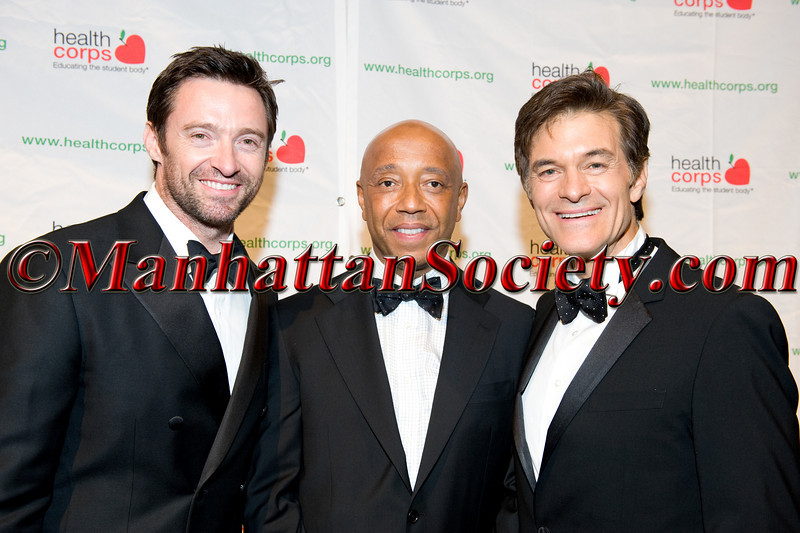 "Hugh Jackman, Russell Simmons, Dr. Mehmet Oz attend HEALTHCORPS' Fifth Annual Gala ""Fresh From The Garden"" on Wednesday, April 13, 2011 at Intrepid Sea, Air & Space Museum, Pier 86 at 46th Street & 12th Avenue, New York, NY  PHOTO CREDIT: Copyright ©Manhattan Society.com 2011"
