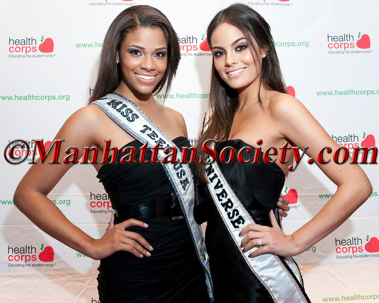 """Miss Teen USA Kamie Crawford, Miss Universe, Ximena Navarrete attend HEALTHCORPS' Fifth Annual Gala """"Fresh From The Garden"""" on Wednesday, April 13, 2011 at Intrepid Sea, Air & Space Museum, Pier 86 at 46th Street & 12th Avenue, New York, NY  PHOTO CREDIT: Copyright ©Manhattan Society.com 2011"""