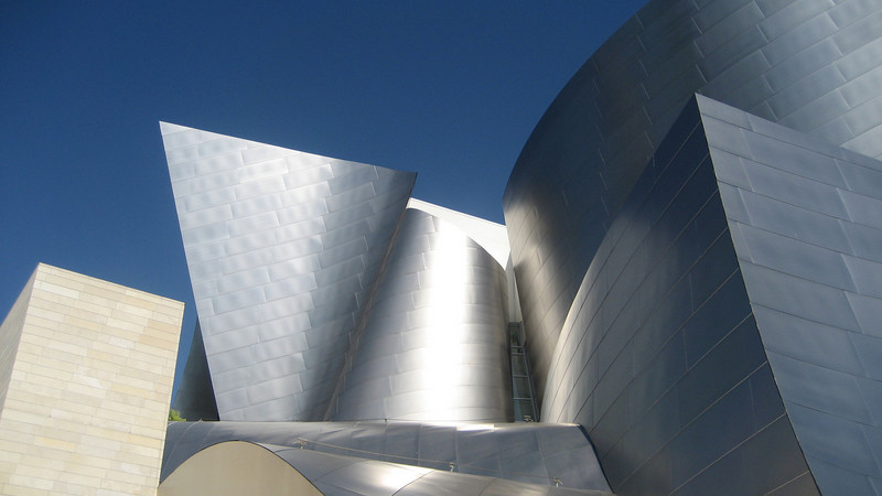 Disney Concert Hall, designed by Frank Geary, opened in downtown Los Angeles on October 20, 2003 & is the home of the LA Philharmonic.