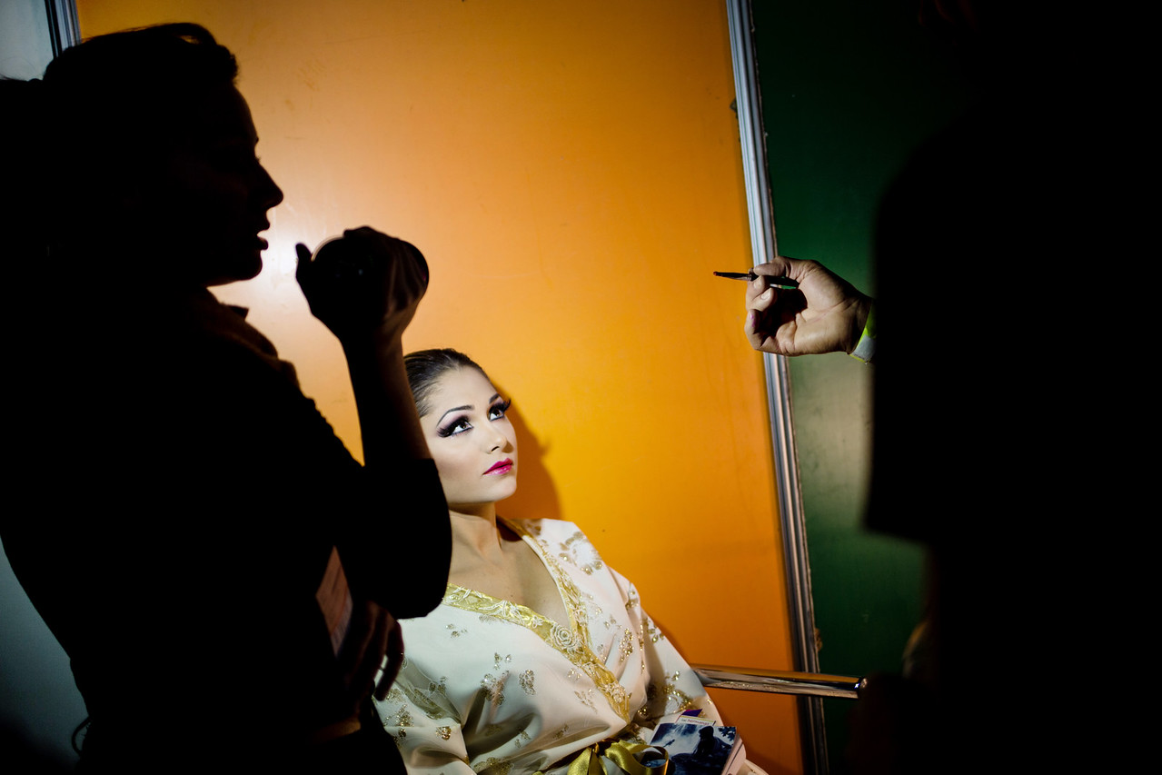 Nominee Gabriela Teran Mendez prepares at backstage for her performance on the Queen Election of the Santa Cruz the Tenerife`s carnival, Canary Islands, Spain, Wednesday, February 11, 2015. (Andrés Gutiérrez/The Stand)