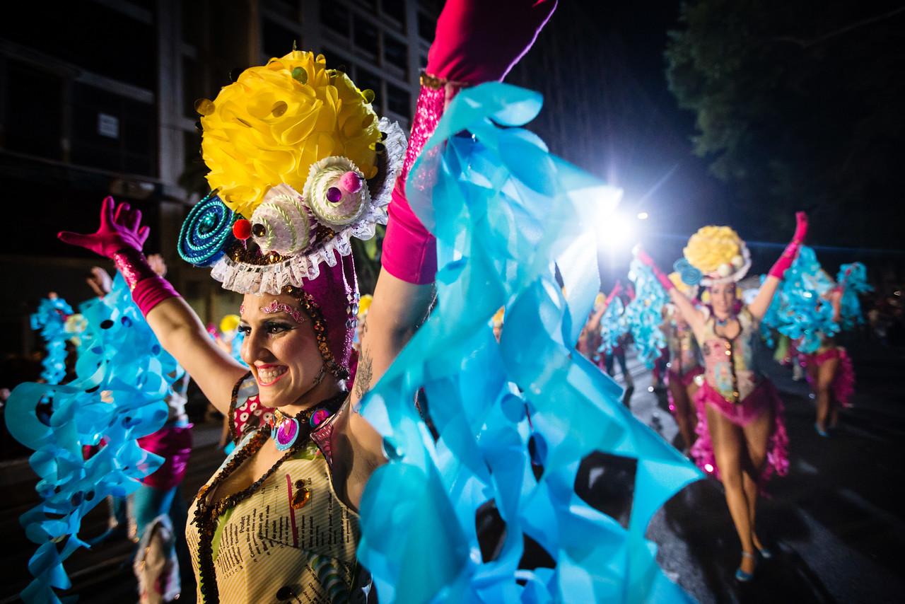Members of 'Danzarines Canarios' troupe perform during the Santa Cruz de Tenerife Carnival, Canary islands, Spain.  February 13, 2015.  (Andrés Gutiérrez/The Stand)