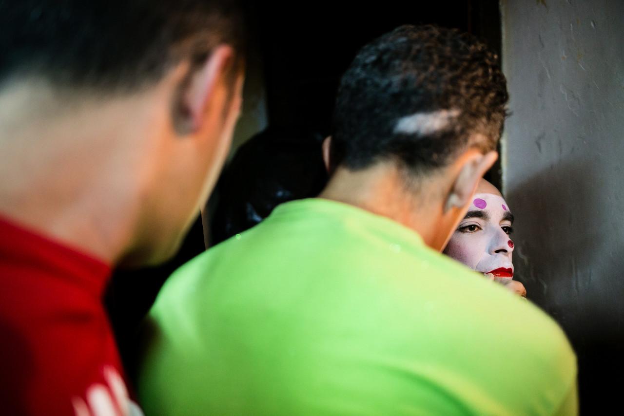 Members of 'Los Diablos Locos' group, prepares for their performance in the Santa Cruz de Tenerife`s Carnival, Canary islands, Spain, Saturday, January 31, 2015 (Andrés Gutiérrez/TheStand)