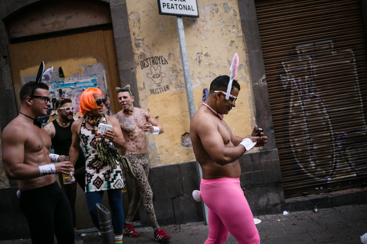 Revellers walk in the streets during the day light carnival of Santa Cruz de Tenerife, Canary islands, Spain, Carnival, Saturday, February 21, 2015.  (Andrés Gutiérrez/The Stand)