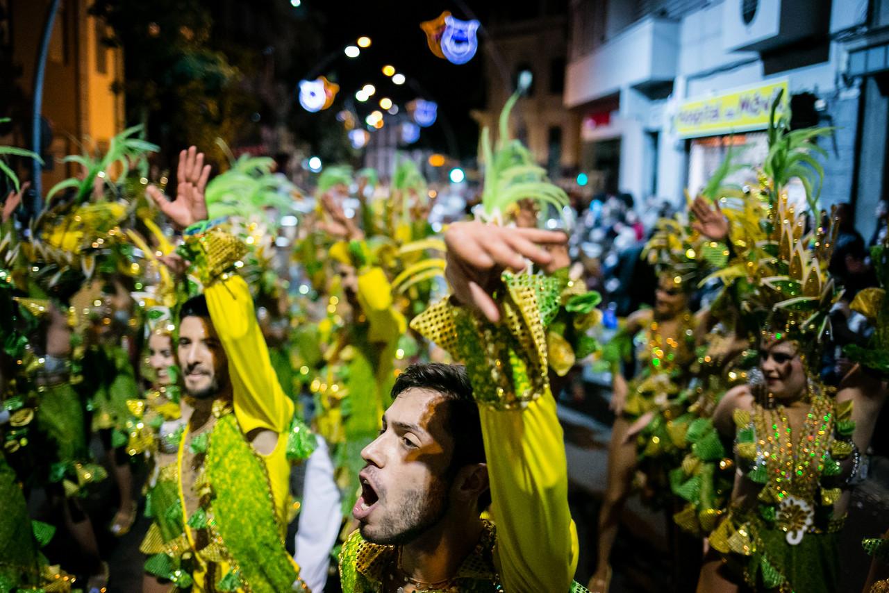 Members of 'Los Tabajaras' troupe perform during the Santa Cruz de Tenerife Carnival, Canary islands, Spain.  February 13, 2015.  (Andrés Gutiérrez/The Stand)