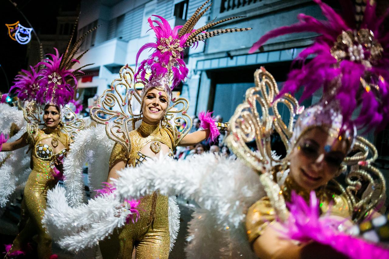 Members of 'Los Rumberos' troupe perform during the Santa Cruz de Tenerife Carnival, Canary islands, Spain.  February 13, 2015. (Andrés Gutiérrez/The Stand)