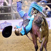 Kevin Harvison | Staff photo<br />  A cowboy looses his mount during the professional rodeo at the Southeast Expo Saturday.