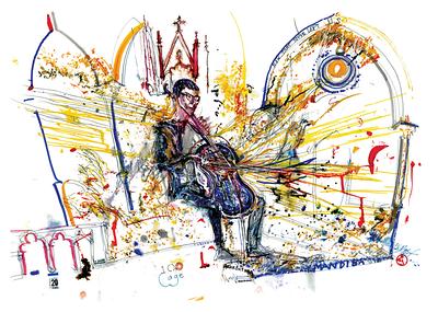 Matt Brubeck Solo by: Jeff Schlanger  musicWitness®: MANDIBA  Original art = 70 x 100cm made live @ Guelph Jazz Festival   www.musicWitness.com