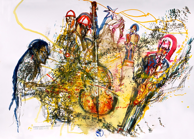 musicWitness®: Peter Broetzmann • Hamid Drake • William Parker   Original art 70 x 100cm made Live @ Vision-19 Roulette Brooklyn, NY June 12, 2014   http://musicwitness.com