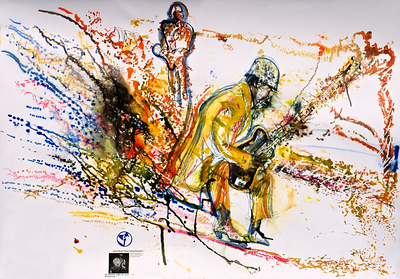 musicWitness®: Blood Revelation   James 'Blood' Ulmer /  Calvin 'The Truth' Jones / Cornell Rochester  Original art 70 x 100cm made Live @ Vision-19 Roulette Brooklyn, NY June 13, 2014.   http://musicwitness.com