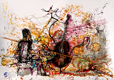 musicWitness® : Matthew Shipp Trio 2014  Matthew Shipp /  Michael Bisio / Whit Dickey  Original art = 70 x 100cm made Live @ Vision-19, Roulette, Brooklyn, NY June 14, 2014.    http://musicwitness.com