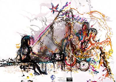 musicWitness®: Fujii 3+1  Satoko Fujii / Natsuke Tamura / Todd Nicholson / Yoshi Shutto  Original art = 70 x 100cm made Live @ Roulette Brooklyn, NY June 14, 2014.    http://musicwitness.com