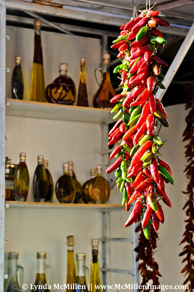 Olive Oil and Drying Peppers; Amalfi Coast, Italy.