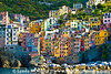 Cinque Terre village as seen from sea, Italy.