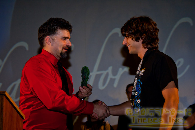 """""""Most creepy scene"""" to the short To Mother and Father. Can Evrenol accepts award from Andrew Migliore"""