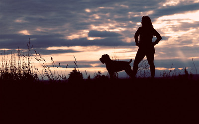 Sunset at Solstice Park, West Seattle, with Haili and Olive.