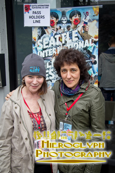 SIFF programmer Maryna Ajaja with Director Julia Ivanova after the screening of her film Family Portait in Black and White.