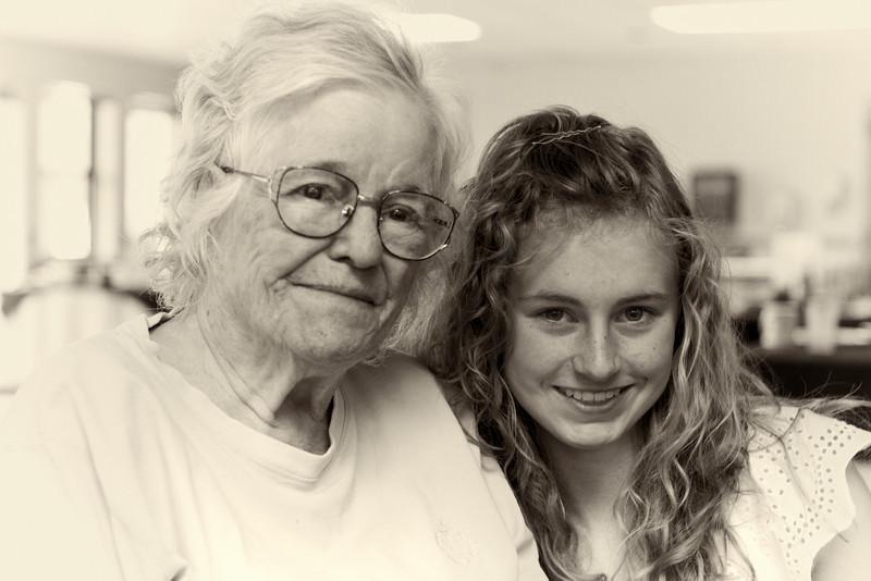 Grandma Sanders and Haili Adams.