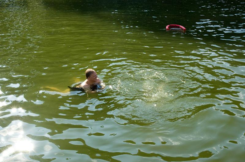 Alf and Ben Swimming at Lake Anna