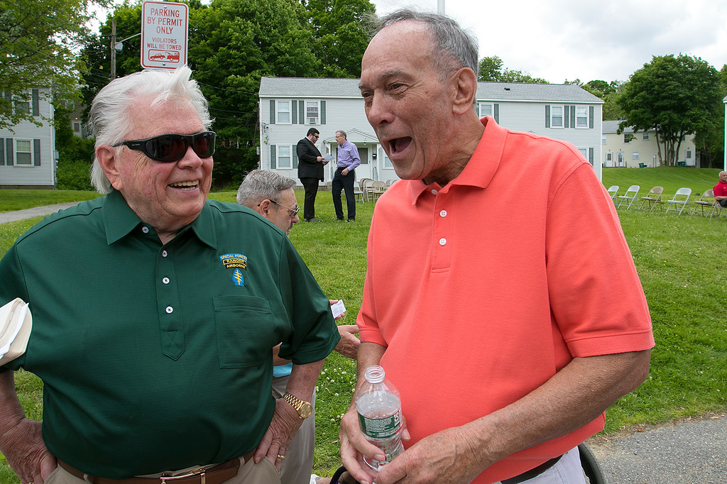 . The Fitchburg Housing Authority held a ceremony for the 75th Anniversary of the Battle of D-Day June 6th, 1944  at the Green Acres Normandy Road rebuilt flag pole. The American Flag will now be flying for the first time in 25 years. Joe Byrne and Bill West talk about their time living at Green Acres. SENTINEL & ENTERPRISE/JOHN LOVE