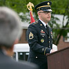 The Fitchburg Housing Authority held a ceremony for the 75th Anniversary of the Battle of D-Day June 6th, 1944  at the Green Acres Normandy Road rebuilt flag pole. The American Flag will now be flying for the first time in 25 years. Addressing the crowd at the ceremony is U.S. Army Staff Sgt. Benjamin Lim. SENTINEL & ENTERPRISE/JOHN LOVE