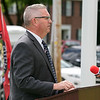 The Fitchburg Housing Authority held a ceremony for the 75th Anniversary of the Battle of D-Day June 6th, 1944  at the Green Acres Normandy Road rebuilt flag pole. The American Flag will now be flying for the first time in 25 years. Addressing the crowd at the ceremony is State Representative Stephan Hay. SENTINEL & ENTERPRISE/JOHN LOVE