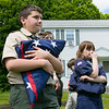 The Fitchburg Housing Authority held a ceremony for the 75th Anniversary of the Battle of D-Day June 6th, 1944  at the Green Acres Normandy Road rebuilt flag pole. The American Flag will now be flying for the first time in 25 years. Holding the flag during the ceremony is Fitchburg Scout from Troop 41 Patrick McWalter, 13. SENTINEL & ENTERPRISE/JOHN LOVE