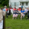 The Fitchburg Housing Authority held a ceremony for the 75th Anniversary of the Battle of D-Day June 6th, 1944  at the Green Acres Normandy Road rebuilt flag pole. The American Flag will now be flying for the first time in 25 years. Addressing the crowd at the ceremony is FHA Board Chairman Lynne E. Byrne. SENTINEL & ENTERPRISE/JOHN LOVE