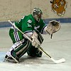 All-FHL Whaler goalie Mike Brown (34) in Game One of the FHL championship series at Hara Arena in Dayton, OH, on Friday, 3/15.